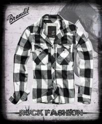 Košile BRANDIT Check Shirt bílá / černá